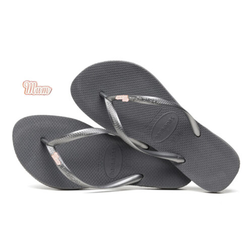Havaianas Silver Flip Flops with Rose Gold Mum Charm