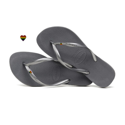 Havaianas Silver Flip-Flops with Pride LGBT Charm Personalised Wedding