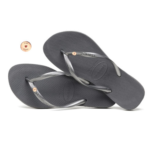 Havaianas Slim Silver Flip-Flops with Rose Gold Gold Charm Personalised