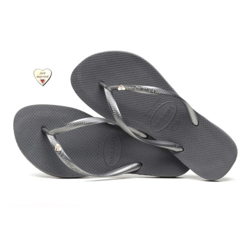 Havaianas Slim Silver Flip-Flops with Heart Charm Personalised Wedding