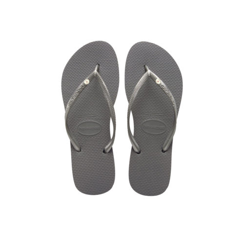 Havaianas Slim Silver Flip-Flops with Silver Charm Personalised Wedding