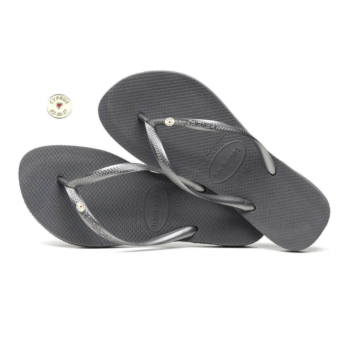 Havaianas Slim Silver Flip-Flops with Silver Charm Personalised Wedding