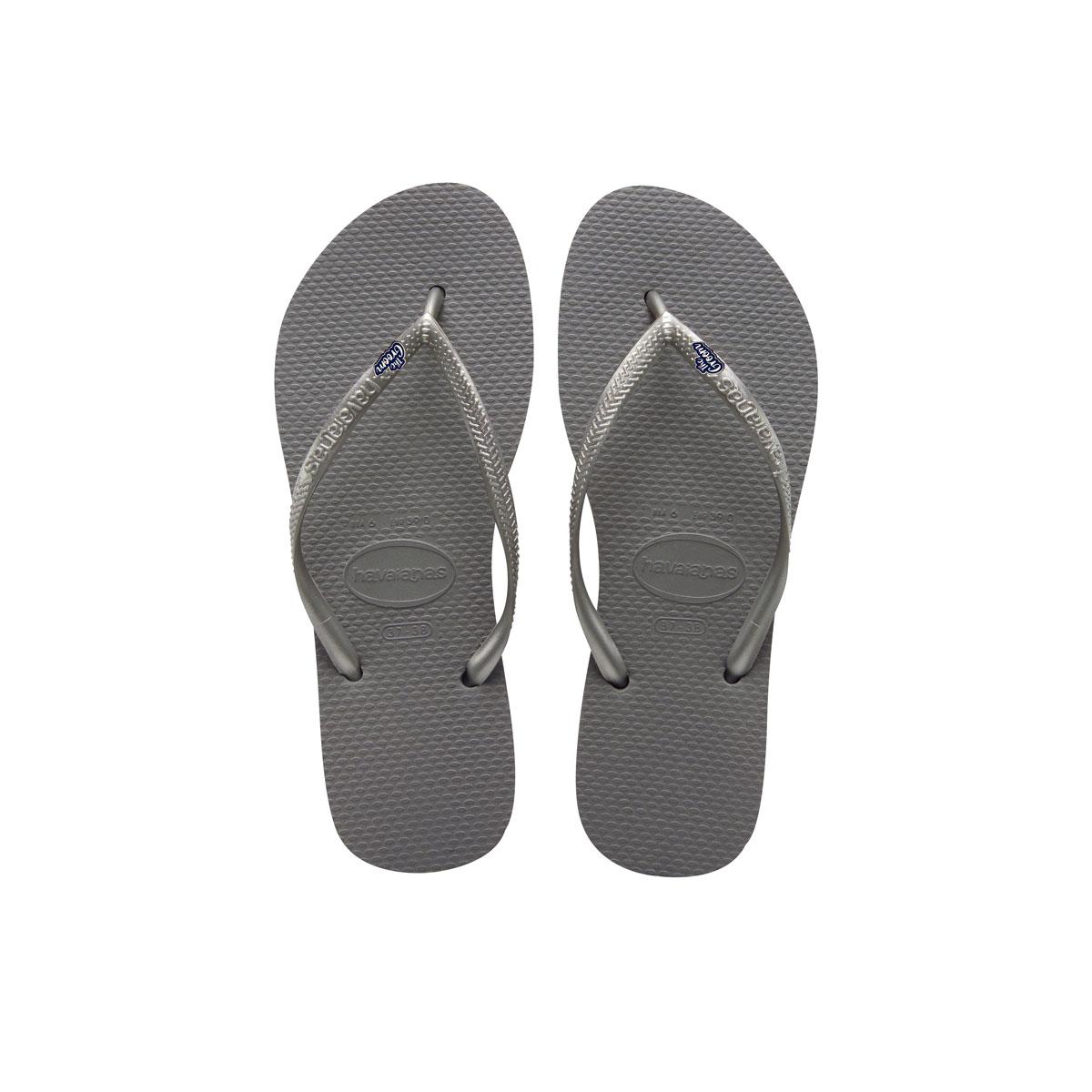 Havaianas Silver Slim Flip Flops with The Groom Silver Wedding Charm