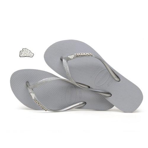 The Bride White Silver Havaianas Slim Silver Glitter Wedding Havaianas