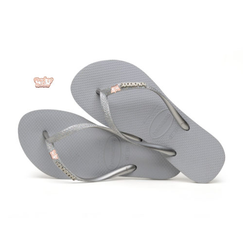 havaianas slim silver glitter rose gold maid of honour charm