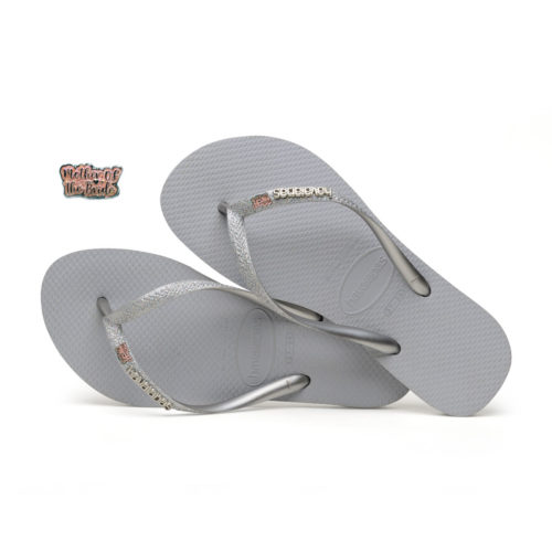 Pink Glitter Mother of the Bride Havaianas Slim Silver Wedding