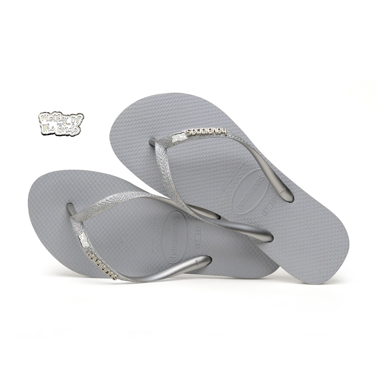 Silver and White Mother of the Bride Havaianas Slim Silver Wedding