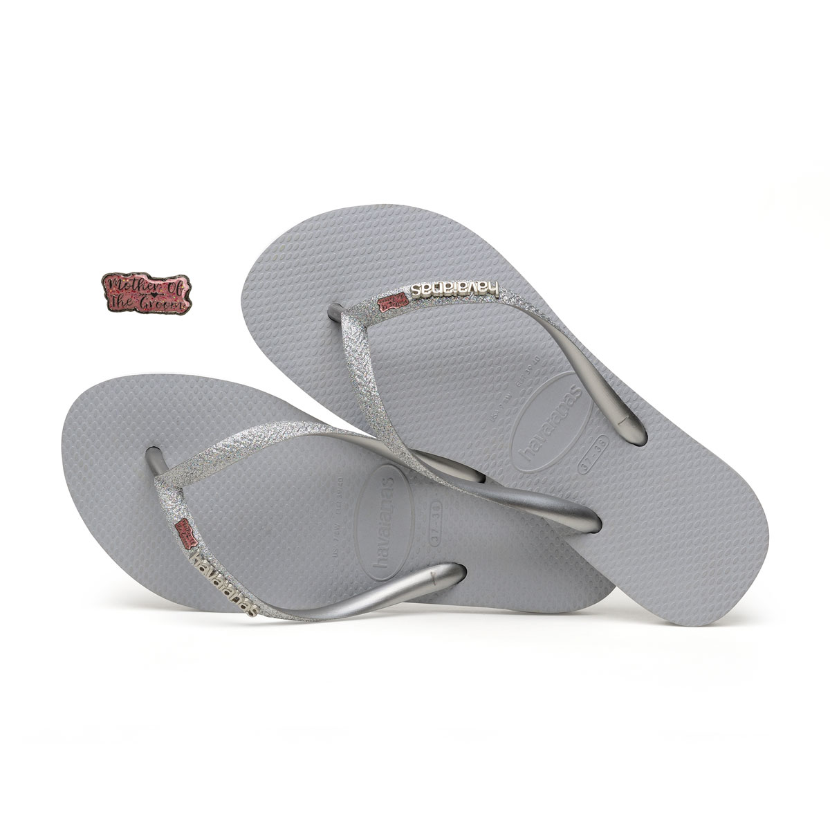 Havaianas Silver Glitter Flip Flops with Pink Glitter Mother of the Groom