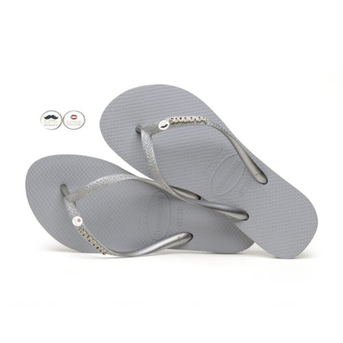 Havaianas Slim Silver Flip Flops with Silver Mr & Mrs Wedding Charm