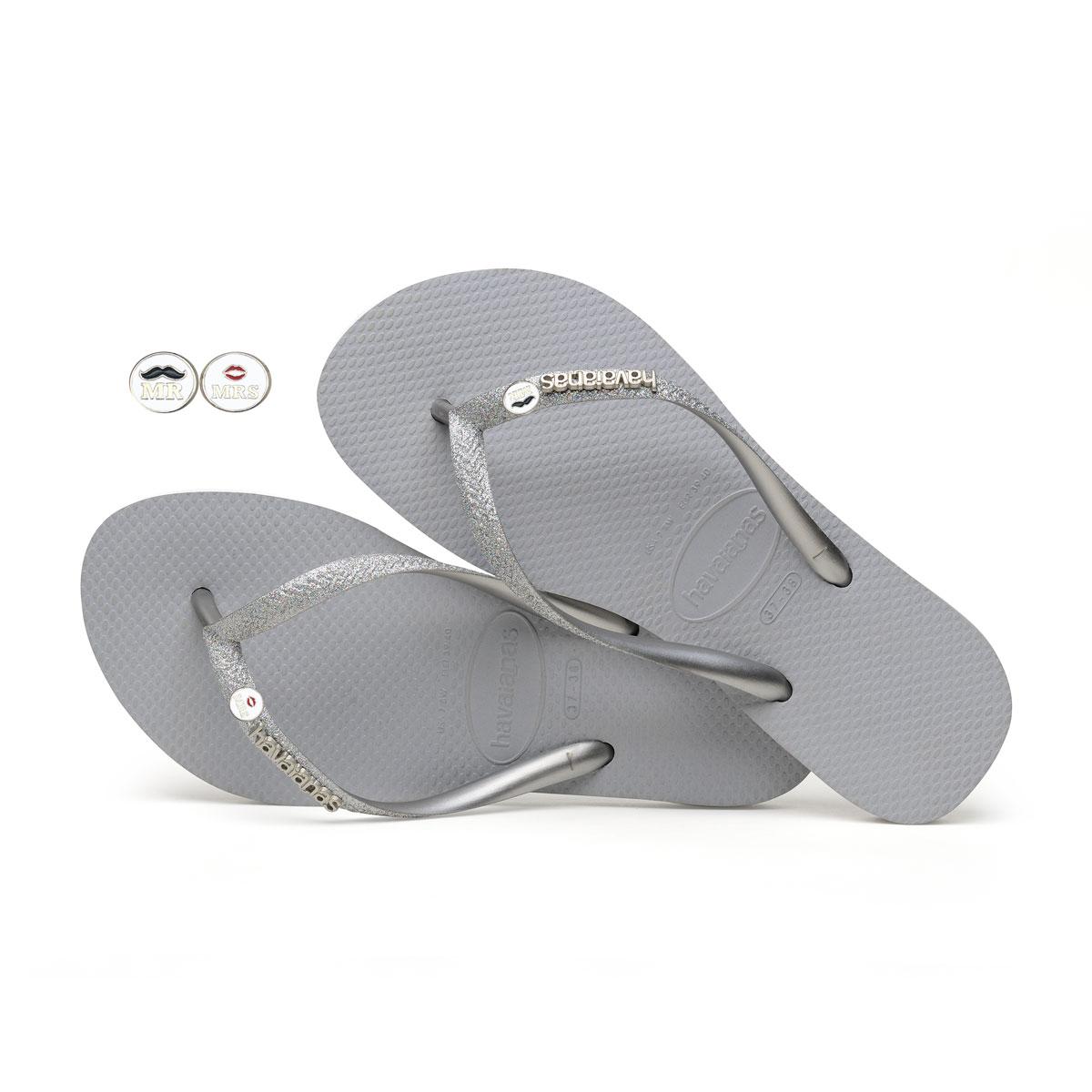 Havaianas Slim Silver Flip Flops with Silver Mr & Mrs Wedding Charm