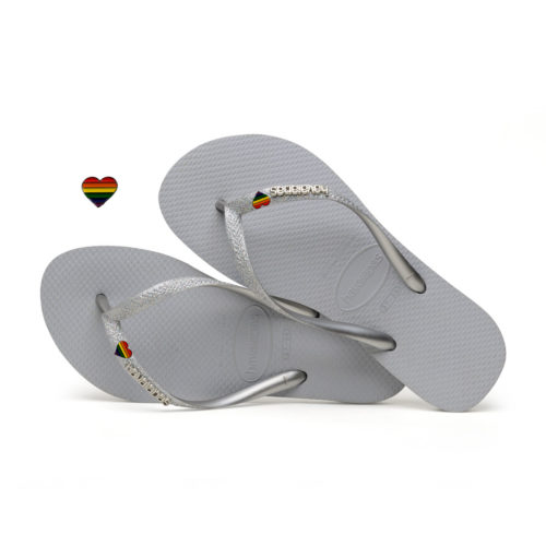 Havaianas Slim Silver Glitter Flip-Flops with Pride Charm Personalised