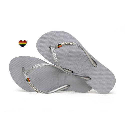 Havaianas Slim Silver Glitter Flip-Flops with Pride Charm Personalised