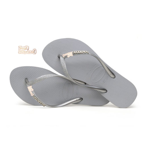Just Married Rose Gold Havaianas Slim Silver Glitter Wedding Havaianas