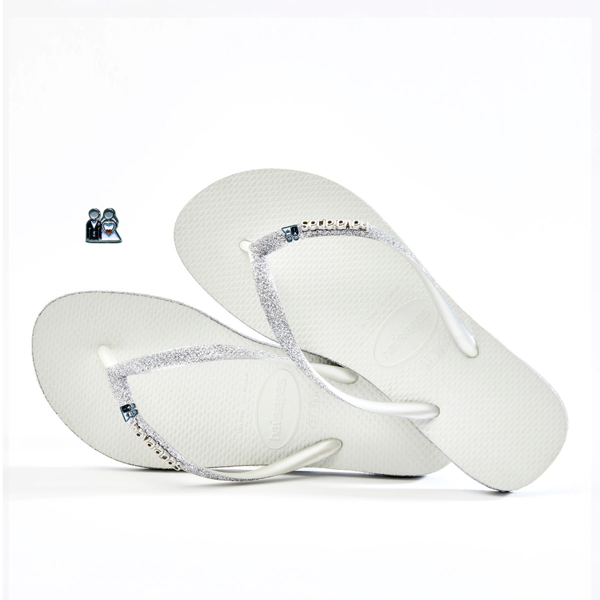 Havaianas White Sparkle Flip-Flops with Silver Bride & Groom Wedding