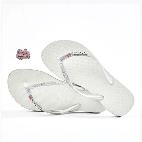 havaianas slim white sparkle bride squad pink glitter