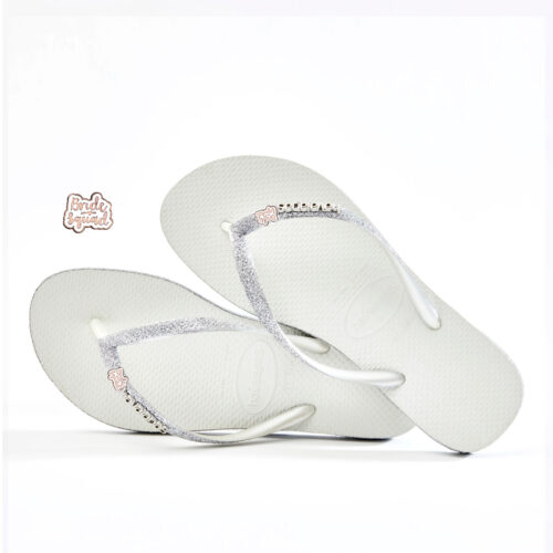 Bride Squad Rose Gold Havaianas Slim White Sparkle Wedding