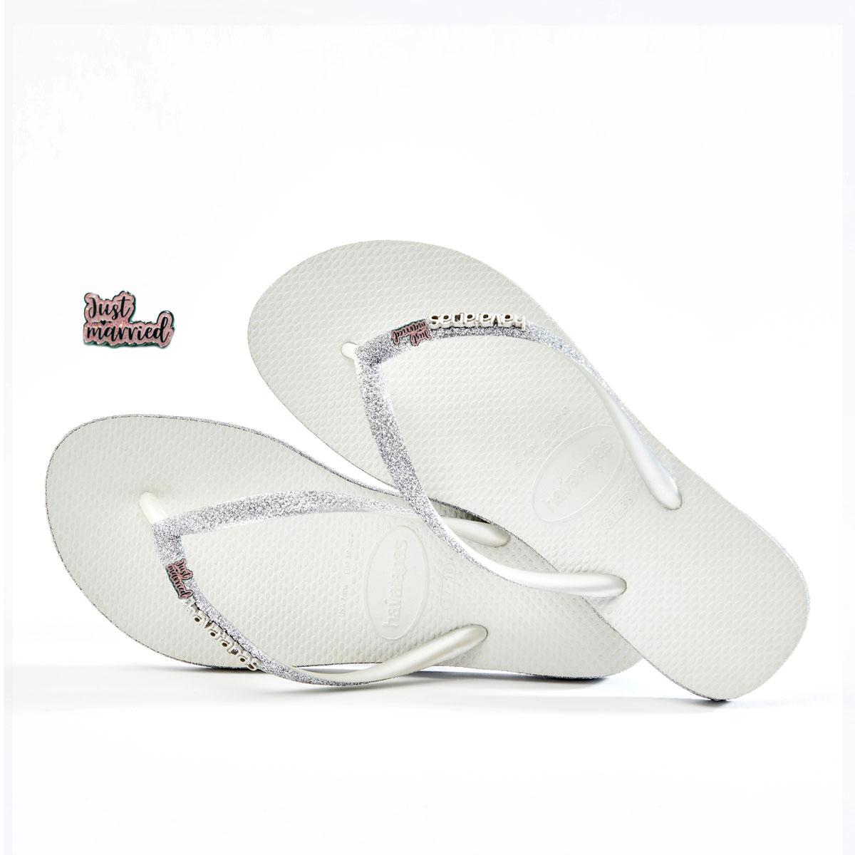 havaianas slim white sparkle glitter pink glitter just married