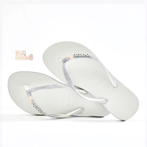 Just Married Rose Gold Havaianas Slim White Sparkle Wedding