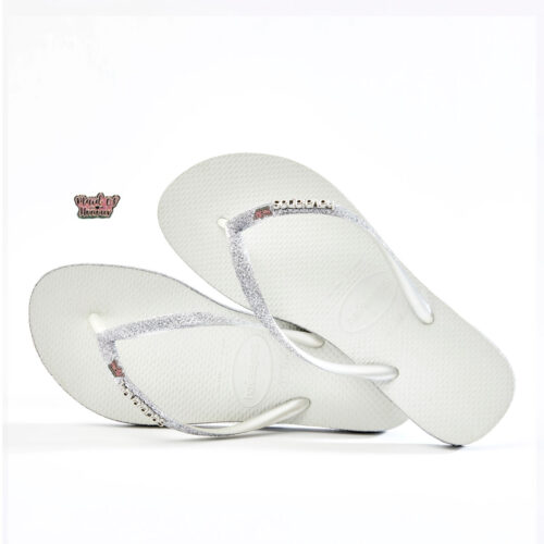 havaianas slim white sparkle pink glitter maid of honour charm