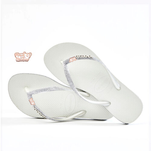 Rose Gold Maid of Honour Havaianas Slim White Sparkle Wedding