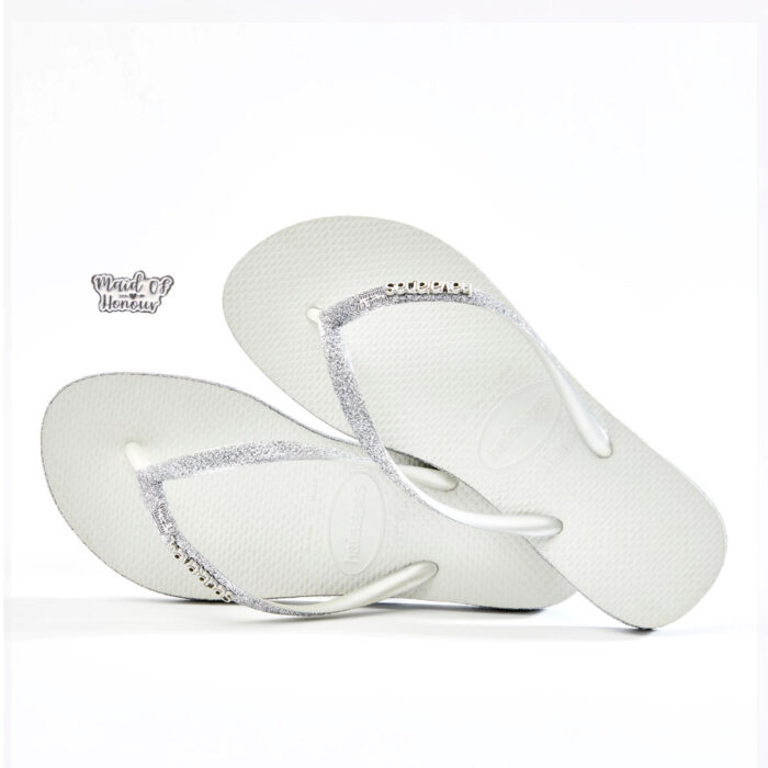 Silver and White Maid of Honour Havaianas Slim White Sparkle Wedding