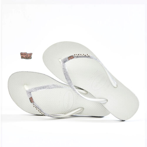 Pink Glitter Mother of the Bride Havaianas Slim White Sparkle Wedding