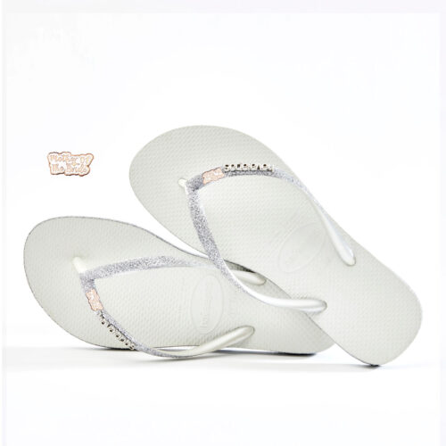 havaianas slim white sparkle rose gold mother of the bride charm