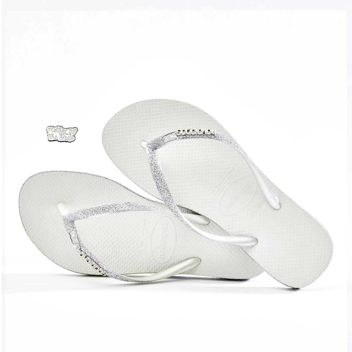 havaianas slim white sparkle silver white mother of the bride charm