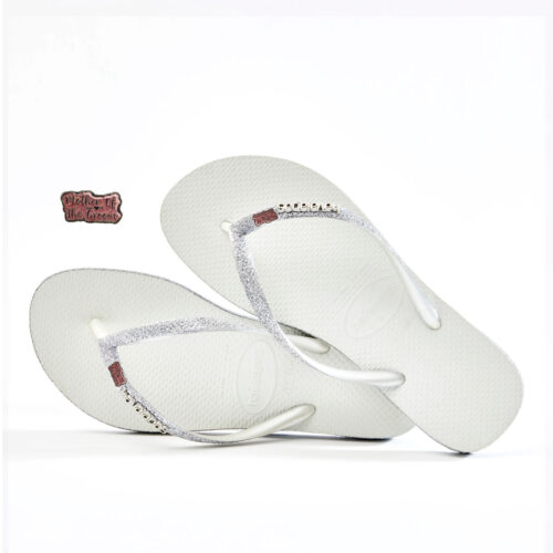 havaianas slim white sparkle mother of the groom pink glitter