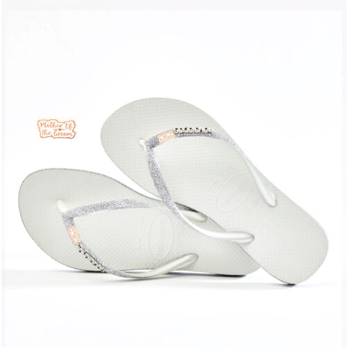 Rose Gold Mother of the Groom Havaianas Slim White Sparkle Wedding