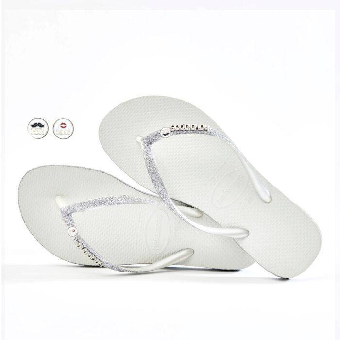 Havaianas Slim White Sparkle Flip Flops with Mr & Mrs Wedding Charm