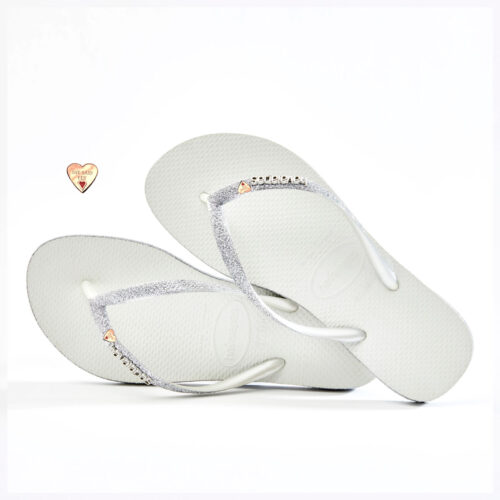 White Sparkle Havaianas Slim Rose Gold Heart Glitter Wedding Havaianas