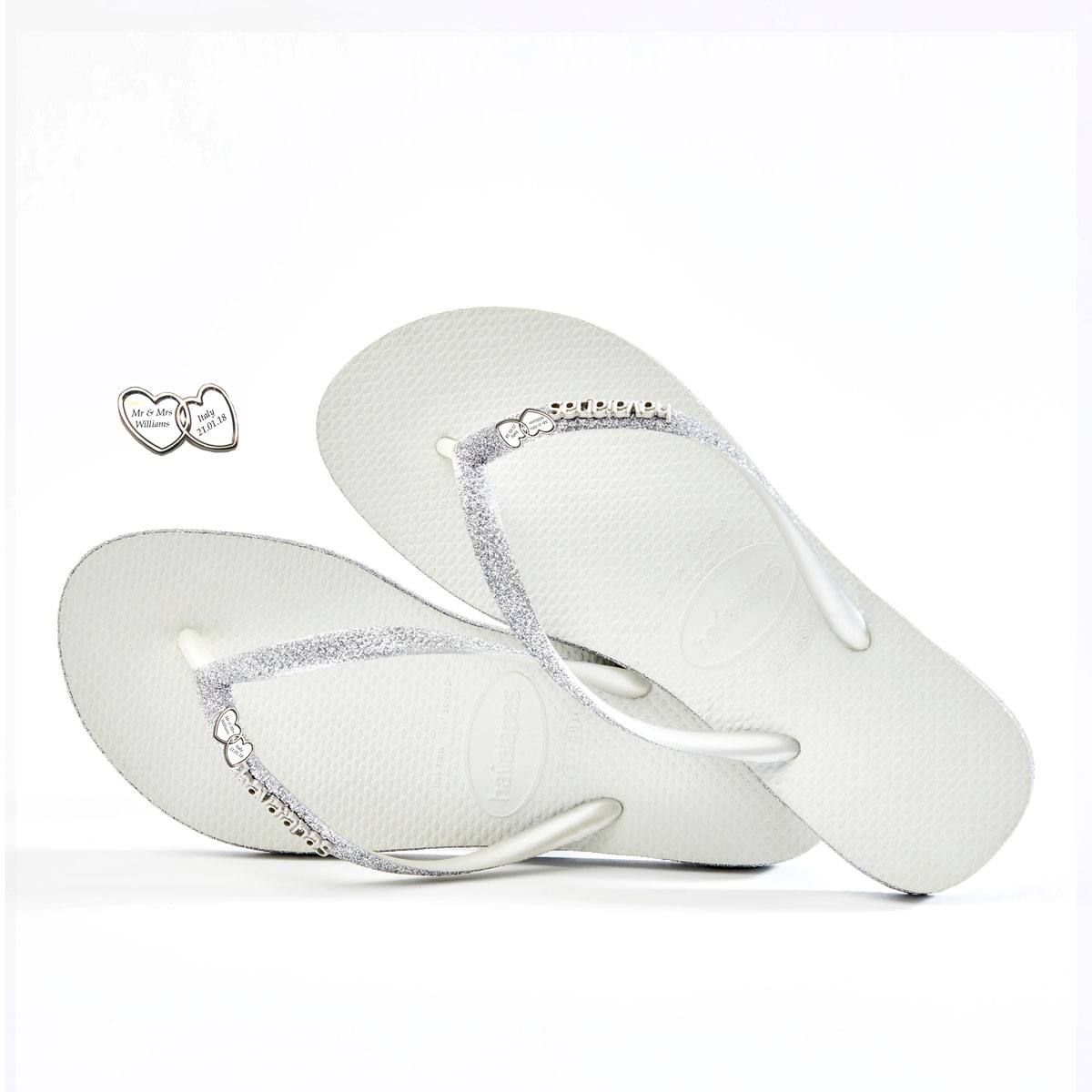 havaianas slim white sparkle silver linked hearts engraved