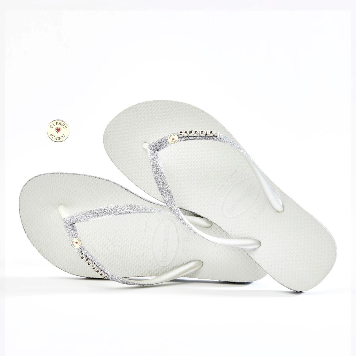 White Sparkle Havaianas Slim Silver Glitter Wedding Havaianas