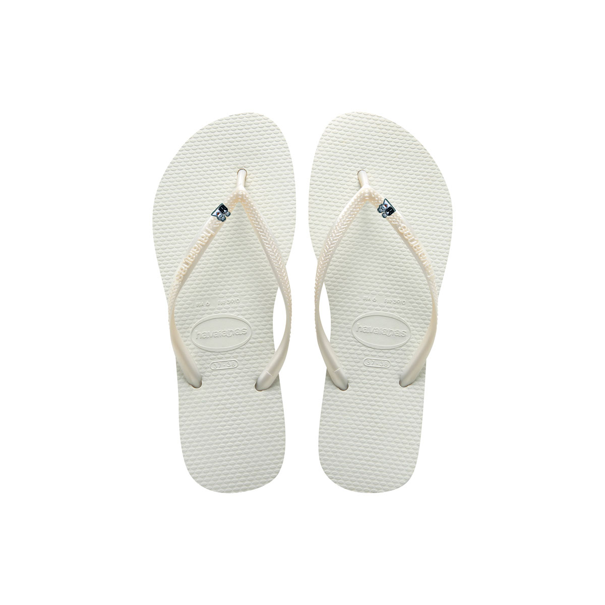 Havaianas White Flip Flops with Silver Bride & Groom Wedding Charm Gift