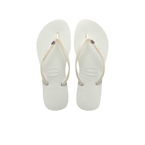 Havaianas Slim White Flip-Flops with Silver 'The Bride' Charm Wedding