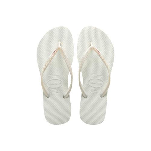 Havaianas White Slim Flip Flops with Rose Gold Bridesmaid Charm