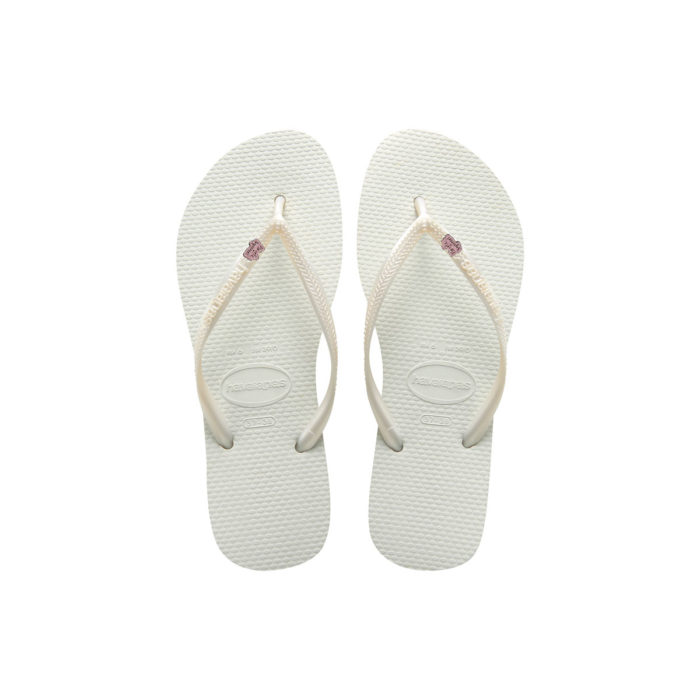 Havaianas White Flip Flops with Silver & Pink Glitter Bride Squad Charm