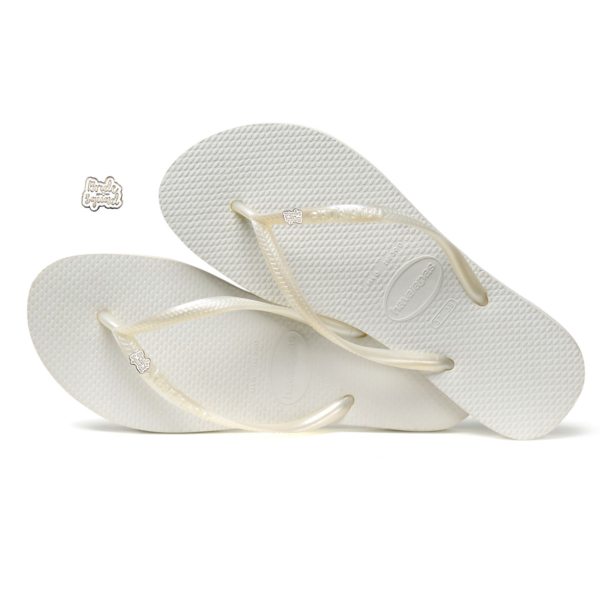 Havaianas White Slim Flip Flops with Silver & White Bride Squad Charm