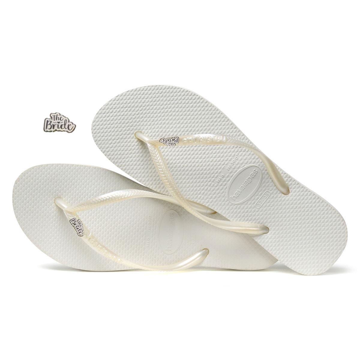 Havaianas Slim White Flip-Flops with 'The Bride' Charm Wedding
