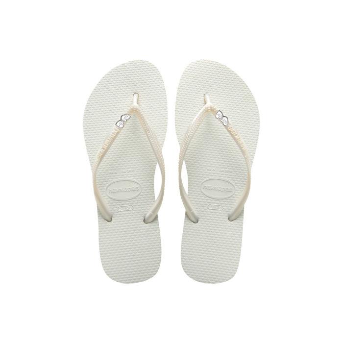 Havaianas Slim White Flip-Flops with Silver Heart Personalised Wedding