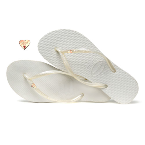 Havaianas Slim White Flip-Flops with Gold Heart Personalised Wedding