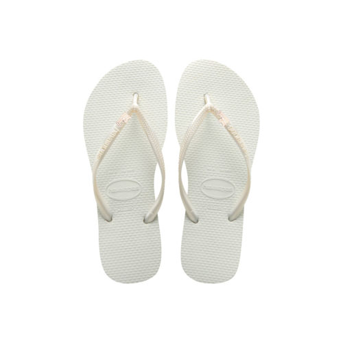 Havaianas White Slim Flip Flops with Rose Gold 'Just Married' Charm
