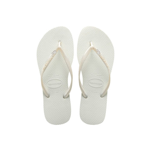Havaianas White Slim Flip Flops with Silver & White 'Just Married' Charm