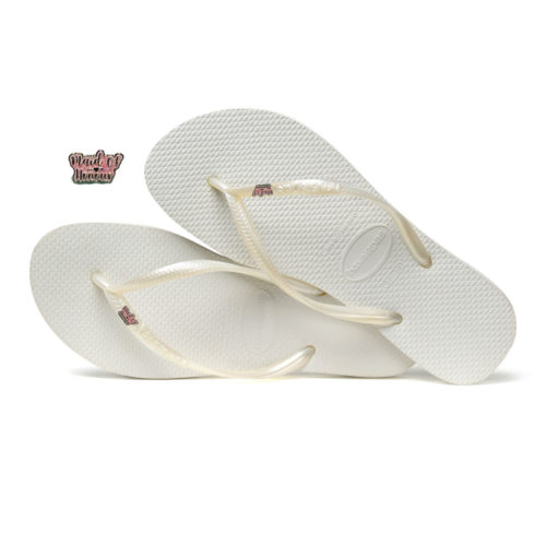 Havaianas White Slim Flip Flops with Silver Pink Glitter Maid of Honour Pin