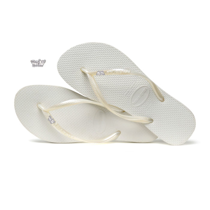 Havaianas White Slim Flip Flops with Silver White Maid of Honour Pin