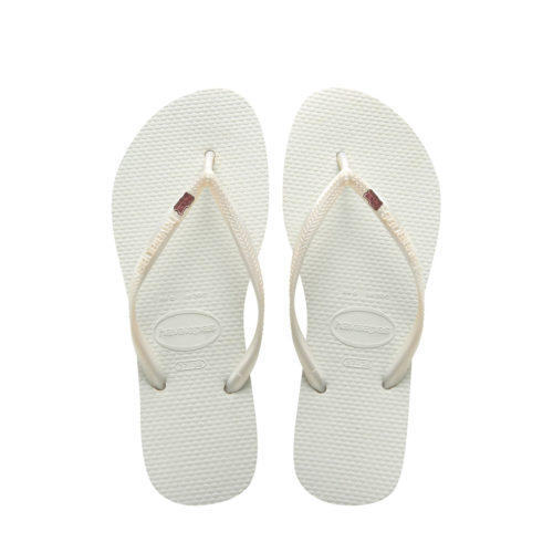 Havaianas White Slim Flip Flops with Pink Glitter Mother of the Groom Pin