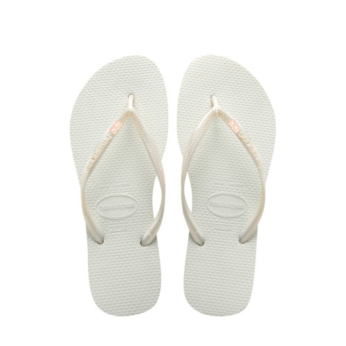 Havaianas White Slim Flip Flops with Rose Gold Mother of the Groom Pin