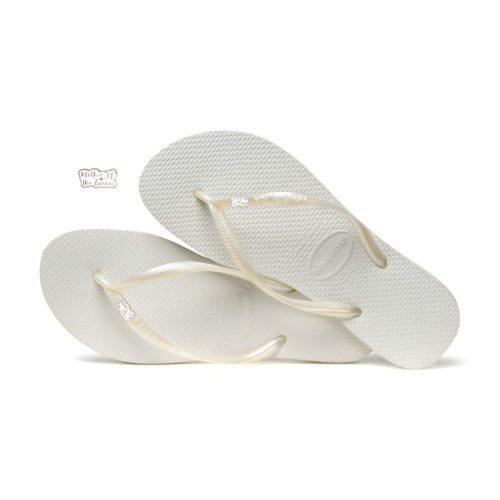 Havaianas White Slim Flip Flops with Silver Mother of the Groom Pin