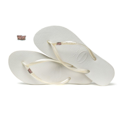 Havaianas White Slim Flip Flops with Pink Glitter Mother of the Bride Pin